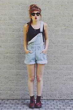 Original grunge: Doc Martens, Denim Overall and messy hair style