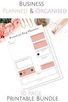 Printable bundle to help you plan and organise in your business. 10 page bundle.