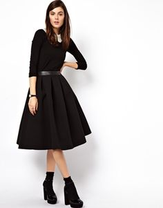ASOS Premium Full Midi Skirt in Bonded Crepe /// I love full A-line skirts