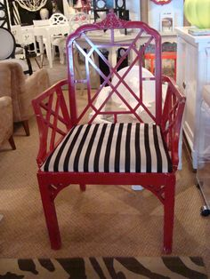 Chinese Chippendale in Red with Black Stripes. Looks like C. Bell in Palm Beach.