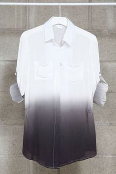 a4a3863d22d CHARCOAL OMBRE SHIRT #CD2453 CHARCOAL OMBRE SHIRT FEATURING BUTTON DOWN AT  FRONT AND CHEST POCKETS