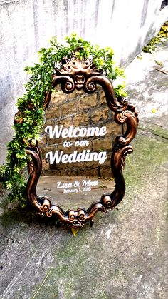 Large rose gold baroque mirror/Wedding ornate welcome sign/Stunning wedding sign Plan My Wedding, Free Wedding, Perfect Wedding, Diy Wedding, Wedding Ideas, Wedding Themes, Wedding Signs, Wedding Bells, Wedding Decorations