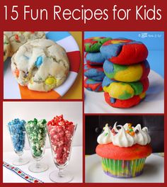 15 Fun Recipes For Kids...getting started on these tomorrow! HOW FUN! At one recipe a day (on weekdays) that's 3 weeks of fun activities in the kitchen!