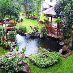 I love this idea. When my husband and i buy a house this is exactly how i want my gazebo to look lol. garden design, Luxury Backyard Water Features Ideas With Gazebo Landscape Garden: Designing minimalist fish pond design with ornament decor Pond Landscaping, Ponds Backyard, Backyard Ideas, Pond Ideas, Backyard Gazebo, Garden Ponds, Garden Gazebo, Gazebo Ideas, Modern Backyard