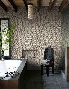 Contemporary Master Bathroom - Stone wall