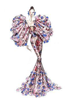 Couture Fashion, Fashion Art, Fashion Show, Fashion Design Drawings, Fashion Sketches, Drag Queen Outfits, Fashion Drawing Tutorial, Ralph & Russo, Fashion Illustration Dresses