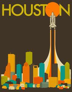 HOUSTON SKYLINE Art Print