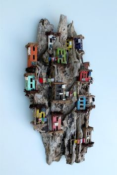 Eric Cremers - Stairways on the mountains Driftwood Sculpture, Driftwood Art, Driftwood Projects, Cardboard Art, Mural Wall Art, Rock Crafts, Miniature Houses, Fairy Houses, Little Houses