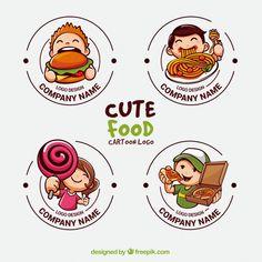 Collection of cute logos for food industry Free Vector Logo Restaurant, Bakery Logo, Food Logo Design, Badge Design, Logo Food, Logo Design Template, Typography Logo, Logo Branding, Branding Design