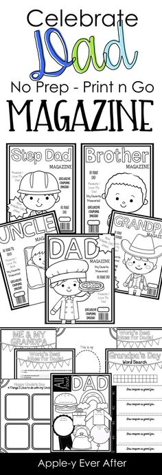 Celebrate Father's Day with this NO PREP Print and go Magazine Pack! It includes pages for Dad, Step Dad, Uncle, Brother and Grandpa for all the father figures out there! Fathers Day Crafts, Happy Fathers Day, Daddy Day, Father Figure, Grandparents Day, Mother And Father, Fun Learning, Gifts For Dad, Activities For Kids