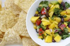 Mango salsa, super easy to make and perfect for summer! Gluten and dairy free http://www.theveggiehouse.com/2013/07/mango-salsa.html