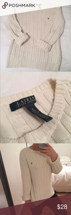 Ralph Lauren Sweater Comfy, classic sweater! Off-white/ivory color. Size medium but also fits xs/s oversized. Only worn a few times! Lauren Ralph Lauren Sweaters Crew & Scoop Necks
