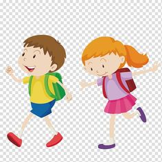 animated boy and girl illustration Walking Boy go to school transparent background PNG clipart in 2020 School illustration Childrens drawings Clip art
