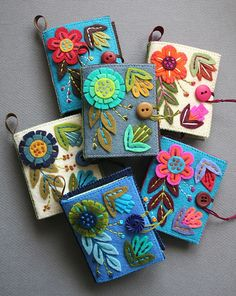 felt needle books with pretty folk art flower embroidery