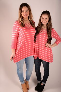 Crossing Paths Coral Striped Top - B249CO