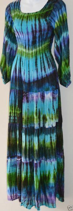 BOHO HIPPY CHIC SALE Tye Dye Blue Green Hippie Gypsy Maxi Long Sleeve Size 8-16