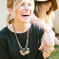 While @sophiabush was  in Uganda, the @31bits ladies shared their stories, taught her how to dance, and showed her the process of making jewelry... Sophia jumped right in and designed this exclusive necklace for @31bits!  The limited edition 'Storyteller' necklace holds stories of adventure, creativity, and joy... and it is now BACK in stock!  Shop the link in profile // #sophiabush #bitsofstyle