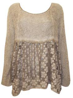 Wholesale Designer Fashion Clothing made in Italy - - Italian BEIGE Angora Knit Tassel Floral Dip Hem Tunic - FreeSize