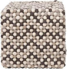 Square Dots Brown Pouf - Surya   domino.com