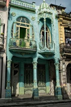 Beautiful vintage turquoise building in Cuba.