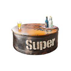 Couchtisch rund Öltonne Industrial-Style Shabby-Chic Holz Metall 80 cm Ø
