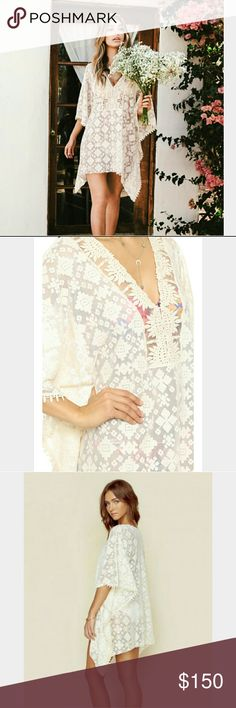 Blue life Tribal Tunic Cream embroidery tunic with crochet front neck panel.   Wear it as a top or over a bikini  New! blue life  Swim Coverups
