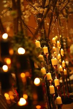 Lots of candles and bling to line the aisle