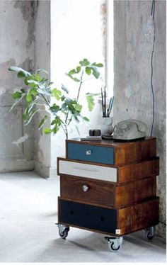 Great DIY idea - side table/dresser made with old drawers, on casters.....<3