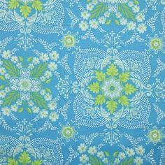 Free Spirit Sis Boom Pretty Please Ann Flower Mural Ice, 44-inch (112cm) Wide Cotton Fabric Yardage