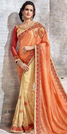 Cheerful Orange And Cream Georgette Saree With Blouse.