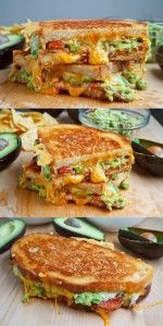 Bacon Guacamole Grilled Cheese Sandwich (we also added diced tomatoes…tasted good in a wrap, too--VERY good! -Dawn) # Food and Drink meals lunches Bacon Guacamole Grilled Cheese Sandwich Best Avocado Recipes, Healthy Recipes, Easy Recipes, Recipes Dinner, Brunch Recipes, Soup Recipes, Dinner Ideas, Bacon Recipes Lunch, Dinner Recipes For Two On A Budget