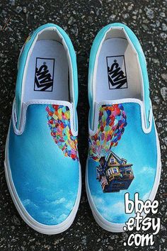 Image of up! Vans made to order Disney Painted Shoes, Painted Canvas Shoes, Custom Painted Shoes, Painted Sneakers, Disney Shoes, Painted Vans, Disney Vans, Hand Painted, Vans Shoes Fashion