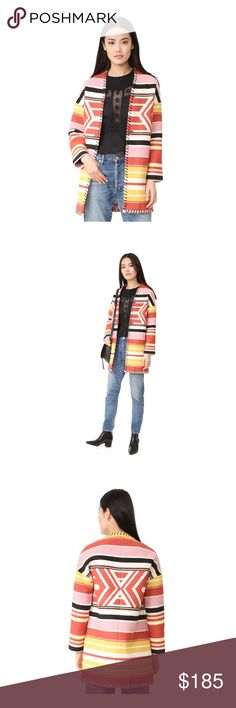 Rebecca Minkoff Kahlo Coat in Aztec XS/S A chic take on the blanket coat by Rebecca Minkoff. Whipstitched edges lend a rustic style and the open placket ensures a relaxed effortless fit. On seam hip pockets. Long sleeves. Size XS/S. Brand new with tags Rebecca Minkoff Jackets & Coats