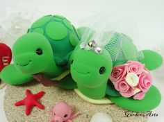 Green SeaTurtle Love Wedding Cake Topper with sand base/ for Summer beach wedding, $79.00