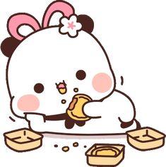 Cute Love Cartoons, Cute Cartoon, Panda Gif, Cartoon Stickers, Kawaii Anime Girl, Animated Gif, Emoji, Chibi, Hello Kitty