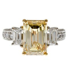 4.03 carat Yellow Diamond 3-Stone Engagement Ring