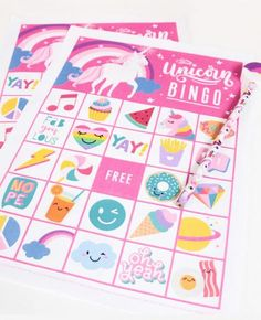 Over 20 Free Printable Bingo games that are a perfect addition to a kids birthday party. These birthday party bingo games are guaranteed to be a hit! Rainbow Unicorn Party, Unicorn Themed Birthday Party, Unicorn Birthday Parties, First Birthday Parties, Girl Birthday, Birthday Ideas, Birthday Games, Rainbow Party Games, Kids Birthday Crafts