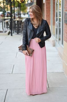 winter maxi skirt outfit - pink pleated maxi skirt with a leather jacket   www.bylaurenm.com