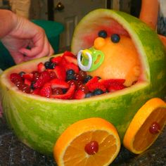 Baby shower ideas  Fruit baby carriage