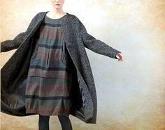 Grey Cashmere Coat Wool Coat Long Wool Coat Winter by camelliatune