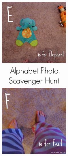 Fun way to help kids learn letter sounds! Send them on an ABC photo scavenger hunt.