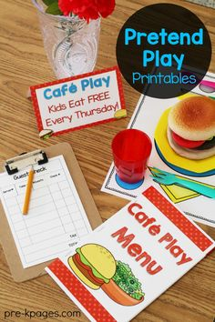 Printable Menu for Pretend Play Restaurant in Preschool and Kindergarten. Make learning FUN with dramatic play.