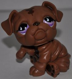 Bulldog (Dark Brown, Purple/Pink Eyes) - Littlest Pet Shop (Retired) Collector Toy - LPS Collectible Replacement Single Figure - Loose (OOP Out of Package & Print) - KyrStore Lps Dog, Lps Cats, Pet Toys, Lps Littlest Pet Shop, Little Pet Shop Toys, Little Pets, Lps Toys For Sale, Brown Dog, Dark Brown