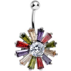 Clear Gem Multicolored Morning Sunburst Belly Ring | Body Candy Body Jewelry #bodycandy