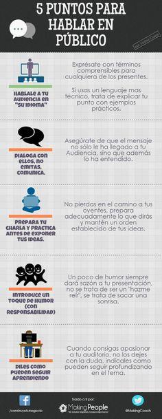 Hola: Una infografía con 5 consejos para hablar en público. Vía Un saludo