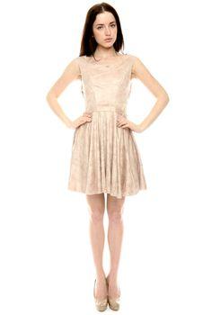 Beige Pleated Dress