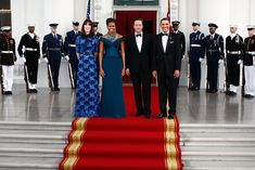 In 2012, Mrs. Obama wore Marchesa at a state dinner with Prime Minister David Cameron of Britain and his wife, Samantha Cameron.