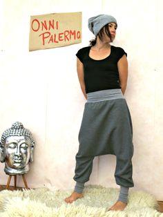 Damen Tiefer Schritt Jeans Unregelmäßig Locker Gummibund Harem Jeans Hose