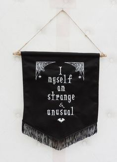 Beetlejuice pennant banner , wall hanging decor, made with black thick cotton with a white embroider Dark Side, Goth Home Decor, Gothic Bedroom Decor, Gypsy Decor, Wall Banner, Hanging Banner, Pennant Banners, Gothic House, Tapestry Wall Hanging