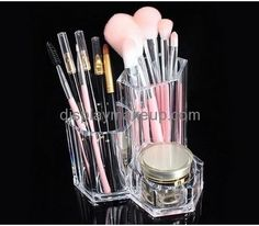 Makeup display stand suppliers customize unique makeup brush holder clear DMD-313